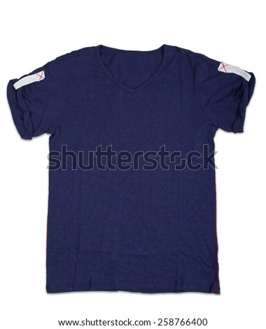 New blue mens shirt. T-shirt Isolated on white - stock photo