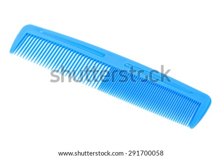 new blue plastic comb on a white background - stock photo