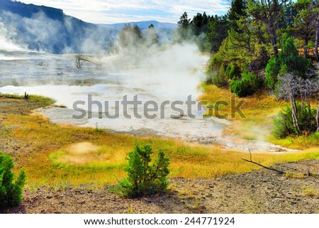 New Blue Spring in Mammoth Hot Springs area of Yellowstone National Park, Wyoming - stock photo