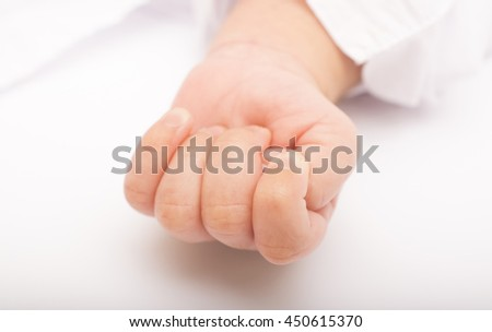 New Born adorable cute Baby hand - stock photo