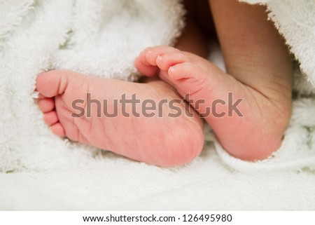 New born baby feet - stock photo