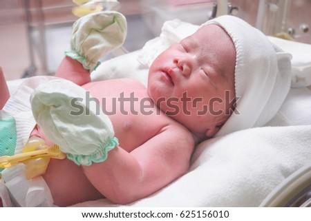 Newborn Cute Infant Baby Hand Holding Stock Photo 91033490