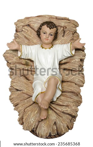 New Born Baby Jesus Christ as crib figure - stock photo