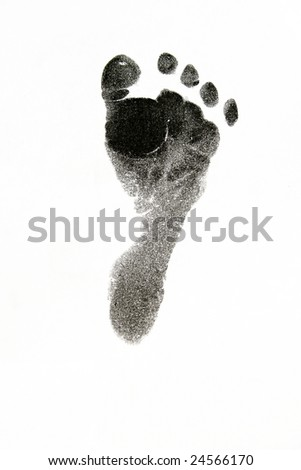 New born baby's foot print in black on white background. - stock photo