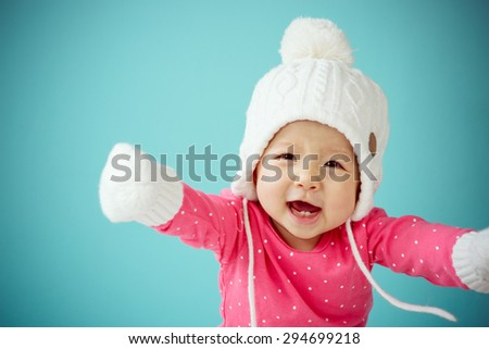New born in warm clothes - stock photo