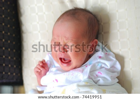 new born infant firt few days different positions - stock photo