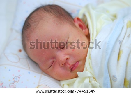 new born infant firt few days different positions