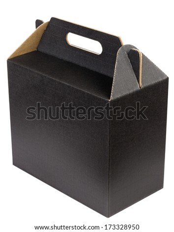 New box of dark loose corrugated cardboard for wine bottles isolated. Mass production, selective focus - stock photo