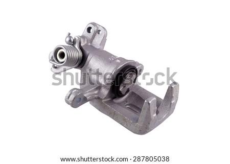 New brake caliper on white background - stock photo