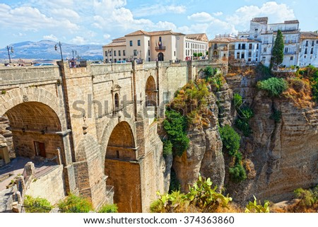 new bridge and houses on the edge of an abyss in the city Rhonda, Spain