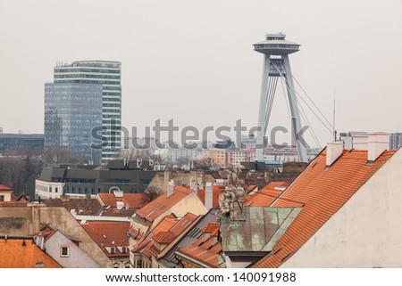 New Bridge and Rooftops in Bratislava - stock photo