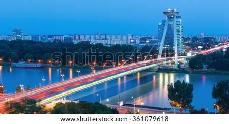 New bridge over Danube river in Bratislava,Slovakia - stock photo