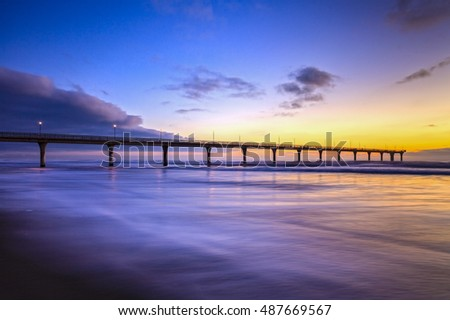 New Brighton Pier, Christchurch, New Zealand, Sunrise - the pier at New Brighton, Christchurch, New Zealand, at sunrise.