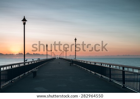 New Brighton Pier early in the morning, Christchurch, New Zealand - stock photo