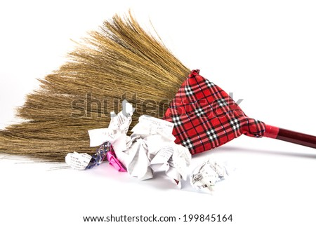 new broom sweeping  with many garbage - stock photo