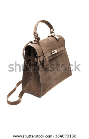 New Brown leather womens bag isolated on white background. - stock photo