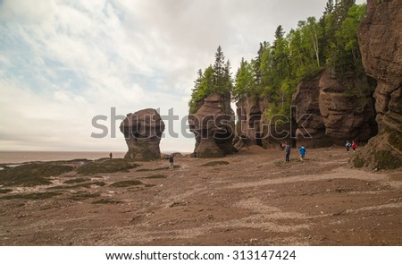 NEW BRUNSWICK, CANADA-JUN 10, 2015: Tourists walking on sea floor of Bay of Fundy at low tide in Hopewell Rocks Park in New Brunswick Canada. - stock photo
