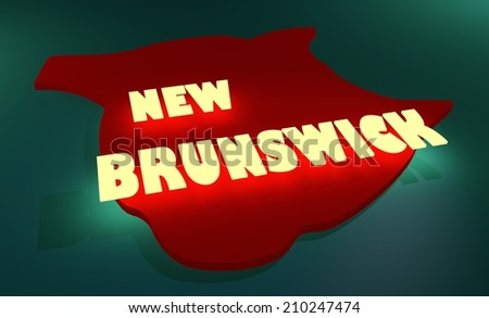 new brunswick outline map and neon shine name - stock photo