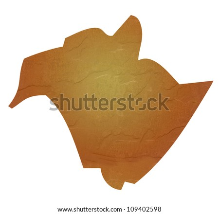New Brunswick province of Canada map with brown rock or stone texture, isolated on white background with clipping path. - stock photo