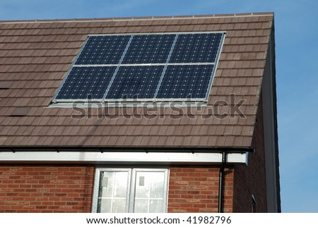 New build house with solar panels.