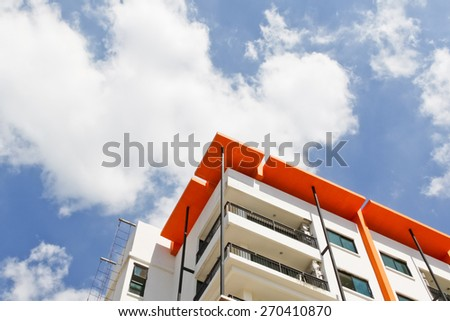 New building condominium soft focus., Modern apartment complex exterior - stock photo