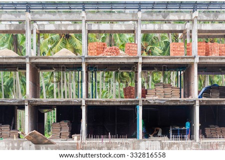 New building under construction with architectural geometric - stock photo