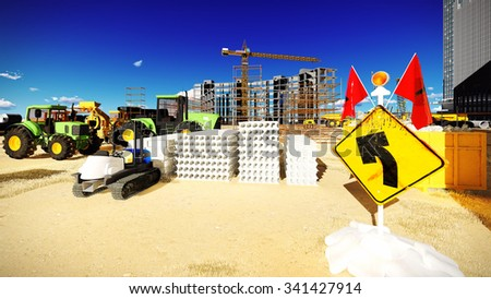 New buildings being put up at the construction site - stock photo