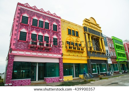new buildings on the street in thailand - June 18, 2016: under construction Colorful, eye-catching.