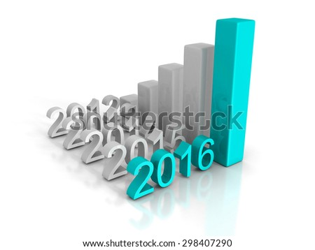 New Business Year 2016 Growth Chart Successful Graph. 3d Render Illustration - stock photo