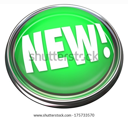 New Button Flashing Flight Green Newest Arrival Update Upgrade - stock photo