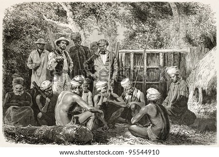 New Caledonian natives family mourning. Created by Neuville after photo of unknown author, published on Le Tour Du Monde, Paris, 1867