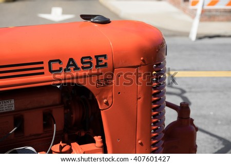 New Canaan,CT - April 17 2016: At a free public car show in New Canaan, a historic case tractor is on display.