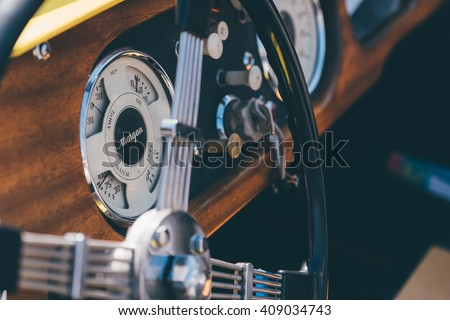 New Canaan,CT - April 17 2016: At a free public car show in New Canaan, the classic hand-built dashboard of a Morgan sports car.