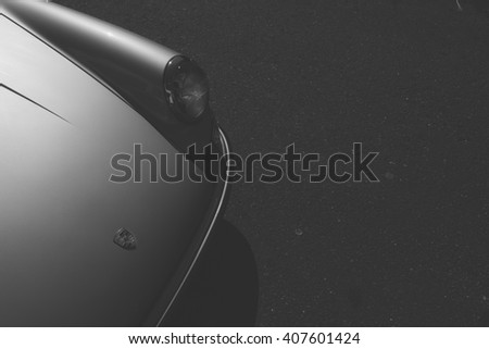 New Canaan,CT - April 17 2016: At a free public car show in New Canaan, the front clip of a classic Porsche in black and white. - stock photo