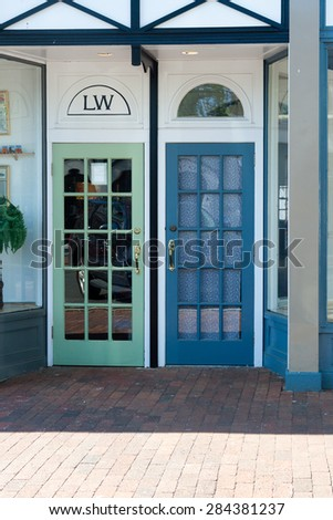 New Canaan, CT, USA - May 24, 2015: Daytime view of a store front  in the down town area of New Canaan, Connecticut on May 24,2015