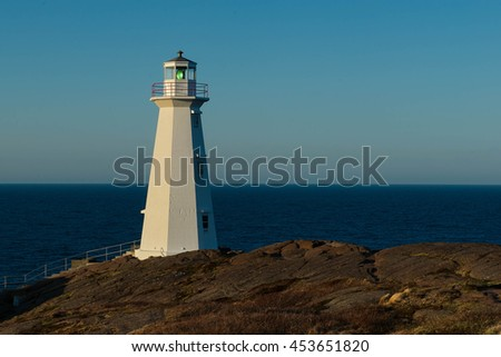 New 1955 Cape Spear Lighthouse overlooking the atlantic ocean.
