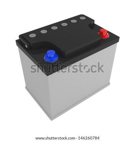 New Car Battery isolated on white - 3d illustration - stock photo