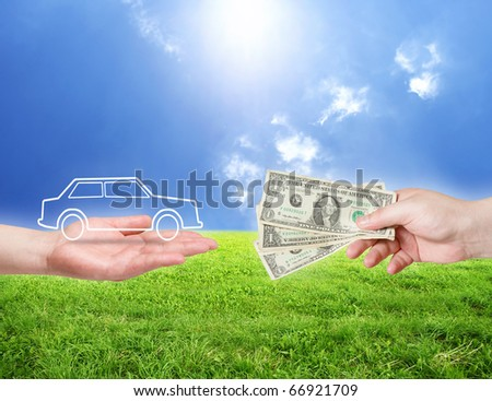 new car concept. Dollar money and car shape in hands