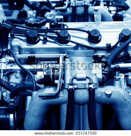 New car engine, finished inside the factory. - stock photo