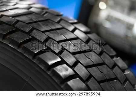 New car tyre closeup photo with detail