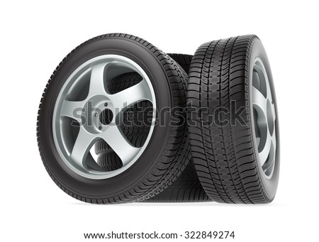New car wheel with winter tire isolated on white background