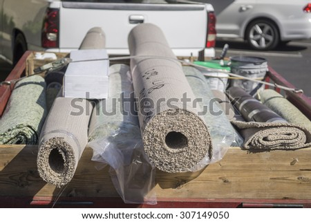 New carpet being delivered for home improvement - stock photo