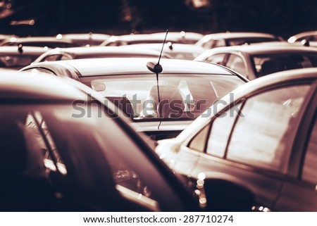 New Cars For Sale on the Dealership Parking Lot. Cars Marketplace. - stock photo
