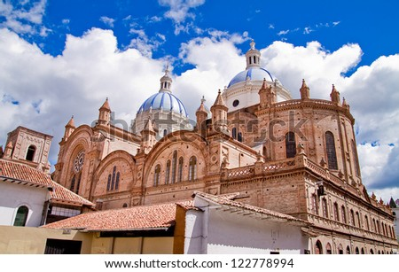New cathedral in Cuenca with blue sky - stock photo