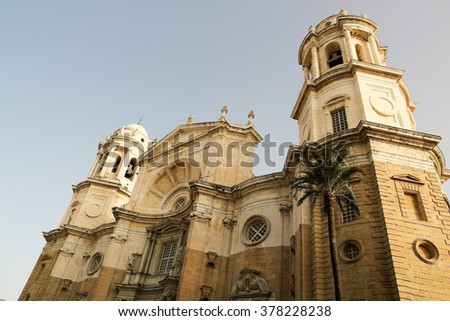New Cathedral, or Catedral de Santa Cruz on Cadiz, Andalusia Spain - stock photo