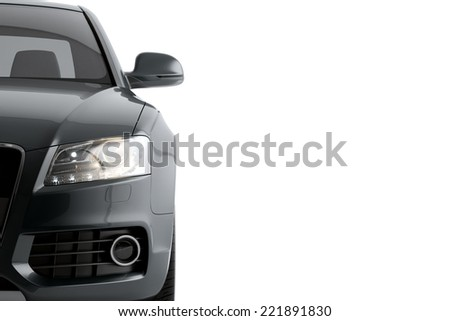 New CG 3d render automotive car of generic luxury, grey detail sport car illustration isolated on a white background - stock photo