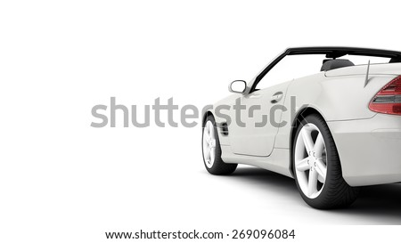 New CG 3d render car of generic luxury detail sports car illustration isolated on a white background. With stylized noise effects automobile  - stock photo