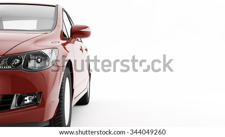 New CG 3d render of generic luxury detail red sports car driving illustration isolated on a white background. Mockup with stylized noise effects - stock photo
