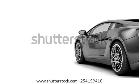 New CG 3d render of generic luxury detail sports car illustration isolated on a white background. With stylized noise effects - stock photo