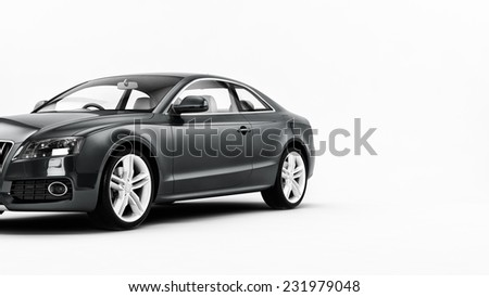 New CG 3d render of generic luxury grey detail sports car illustration isolated on a white background. With stylized noise effects - stock photo